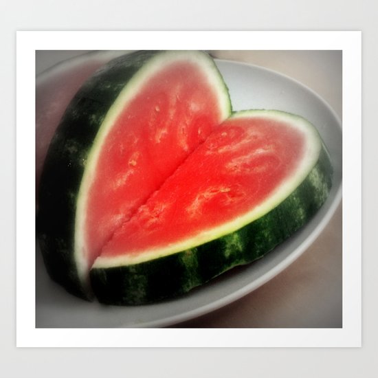 watermelon heart  Art Print