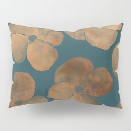 Abstract Metal Copper Flowers on Emerald Pillow Sham