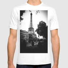 Eiffel Tower White Mens Fitted Tee MEDIUM