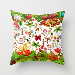 Holiday festive red green holly Christmas pattern Throw Pillow