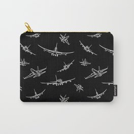 Airplanes on Black Carry-All Pouch