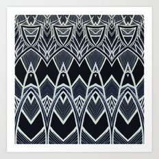 Art Deco Abstract Pattern Leaves - black white Art Print