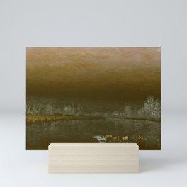 Sanford Robinson Gifford - Cows in a Pond at Sunset Mini Art Print