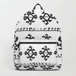 Black and White Bohemian Tribal Ethnic Kilim Pattern Backpack