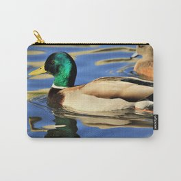 Mallard Duck Reflects on the Water by Reay of Light Carry-All Pouch