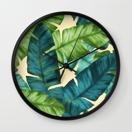 Tropical Banana Leaves Original Pattern Wall Clock