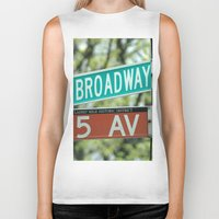broadway Biker Tanks featuring Sign Broadway 5 Ave by Premium