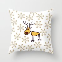 reindeer Throw Pillows featuring Reindeer by Mr and Mrs Quirynen