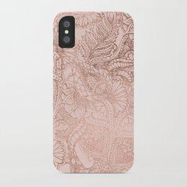 Modern rose gold floral illustration on blush pink iPhone Case