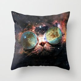 Cool Space Cat with Telescope Glasses in space Throw Pillow