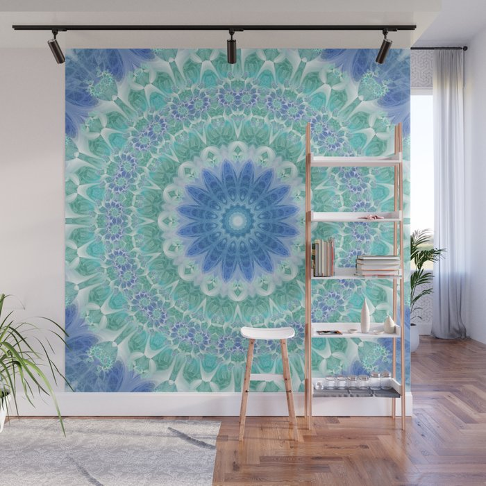 Blue And Turquoise Mandala Wall Mural