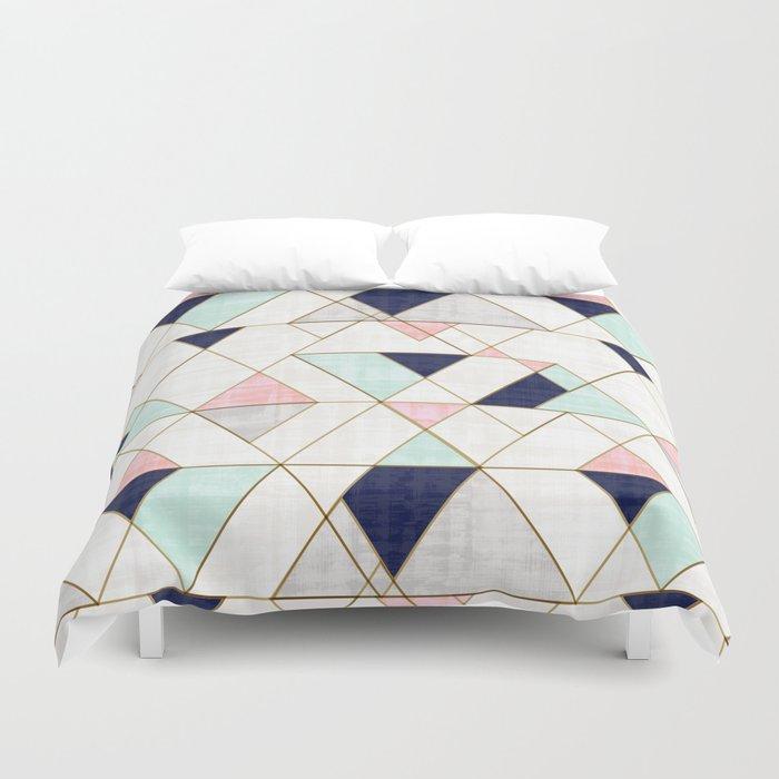 Mod Triangles - Navy Blush Mint Bettbezug