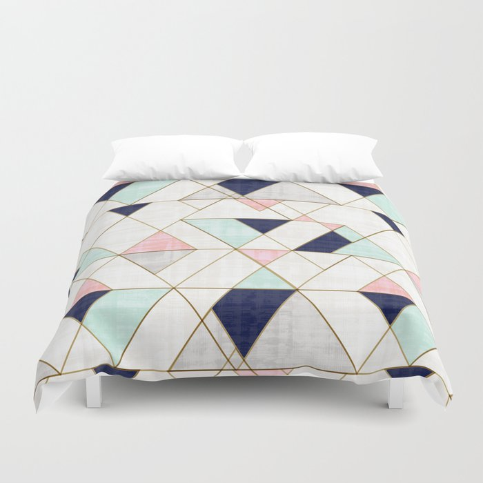 Mod Triangles - Navy Blush Mint Duvet Cover