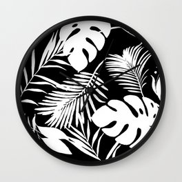 Tropical Monstera And Palm Leaves Black N White Wall Clock