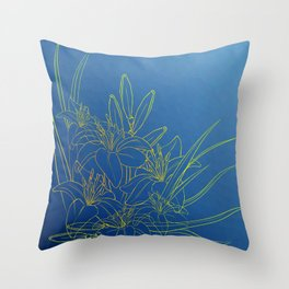 Day Lily Blue Throw Pillow