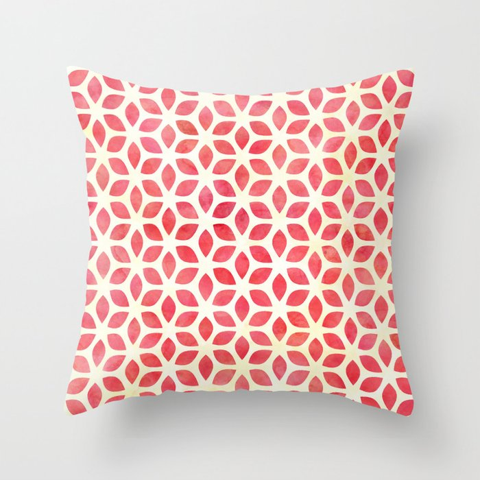 Watercolor Geometric Coral Red Yellow Petal Pattern Throw Pillow