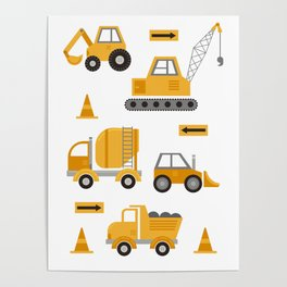 Construction Trucks Poster