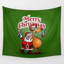 Merry Christmas - Santa Claus and his Reindeer Wall Tapestry