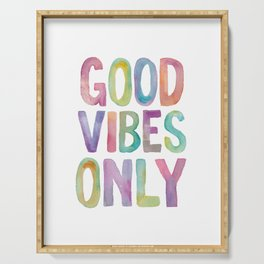 Good Vibes Only Watercolor Rainbow Typography Poster Inspirational childrens room nursery Serving Tray
