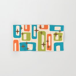 Retro Mid Century Modern Abstract Pattern 921 Orange Chartreuse Turquoise Hand & Bath Towel