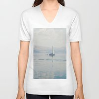 sailing V-neck T-shirts featuring Sailing by Suzanne Trooster