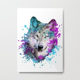 Watercolor wolf wolves head bold artistic painting blue purple violet cyan Metal Print