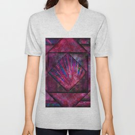 Magenta, Blue and Black Jewel Tone Quilt Unisex V-Neck