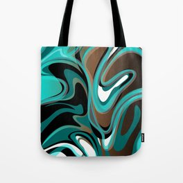Liquify - Brown, Turquoise, Teal, Black, White Tote Bag