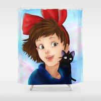 kiki Shower Curtains featuring Kiki & Jiji by Hetty's Art