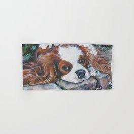 Beautiful Blenheim Cavalier King Charles Spaniel Dog Art Painting by LA.Shepard Hand & Bath Towel