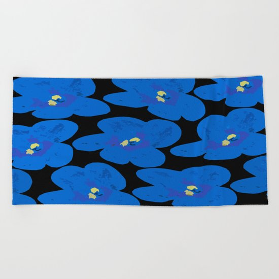 Blue Retro Flowers on Black Background Beach Towel