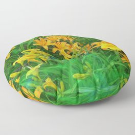 Day-glo Lilies Floor Pillow