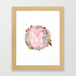 Flower Wreath with Personalized Monogram Initial Letter M on Pink Watercolor Paper Texture Artwork Framed Art Print