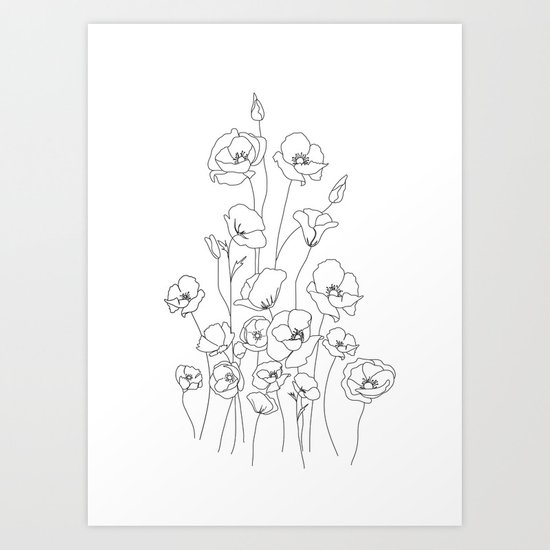 Poppy Flowers Line Art by nadja1
