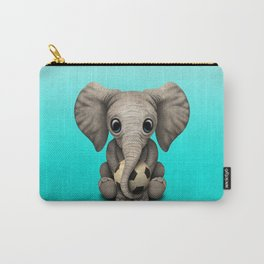Cute Baby Elephant With Football Soccer Ball Carry-All Pouch