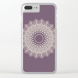 Mandala in Mulberry and White Clear iPhone Case