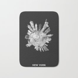New York City Black and White Skyround / Skyline Watercolor Painting (Inverted Version) Bath Mat