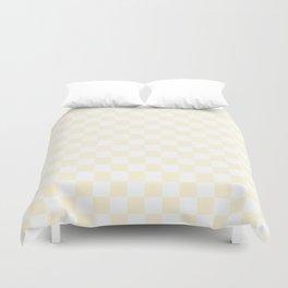 Small Checkered - White and Cornsilk Yellow Duvet Cover