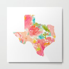 Texas Floral map state map print Metal Print
