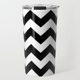 BLACK AND WHITE CHEVRON PATTERN Travel Mug