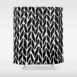 Hand Knitted Black on White Shower Curtain