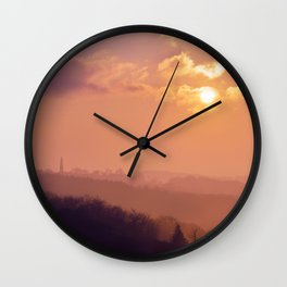 Sunset Over the Woods Wall Clock