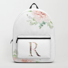 R - Floral Monogram Collection Backpack