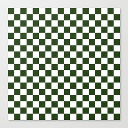 Large Dark Forest Green and White Check Squares Canvas Print