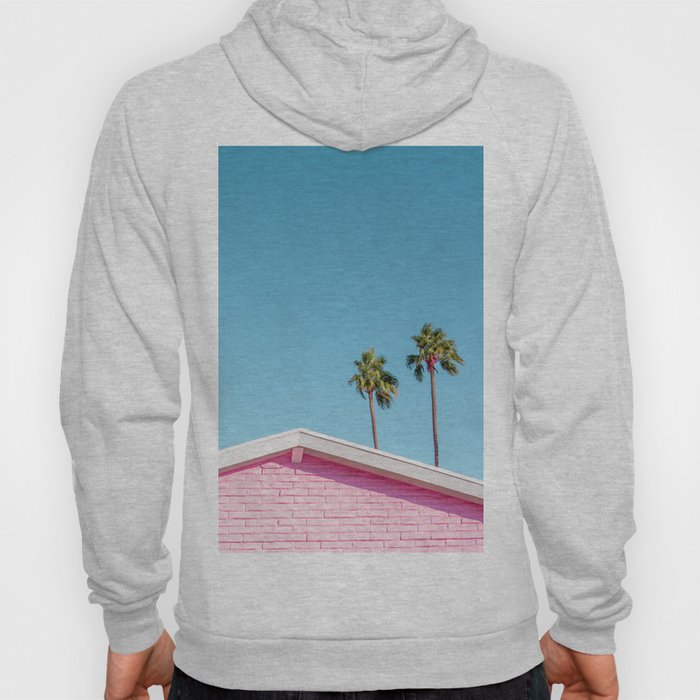 Pink House Roofline with Palm Trees (Palm Springs) Hoody