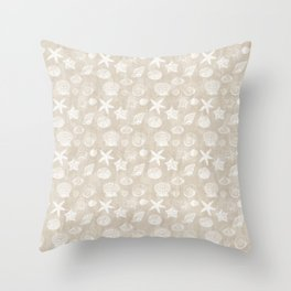 Cream Beige White Beach Shells Throw Pillow