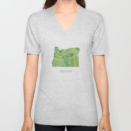 Oregon Counties watercolor map Unisex V-Neck