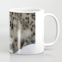 snow leopard Mugs featuring Snow Leopard by PICSL8