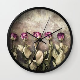 Five dried roses Wall Clock