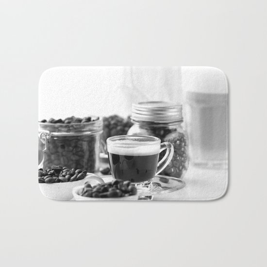 Black and white coffee bar Bath Mat